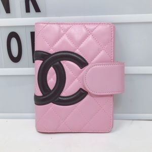 Chanel cambon CC pink quilted leather agenda cover